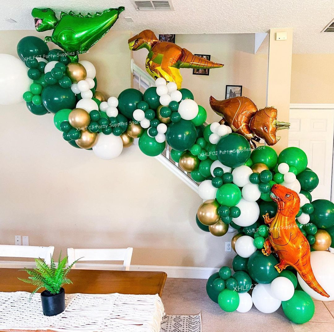 148pcs/Set Dinosaur Balloons Garland Kit for Birthday Baby Showers Decoration Jungle Theme Party T Rex Velociraptor Balloon