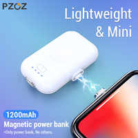PZOZ Magnetic Power Bank For iPhone Micro USB Type C 1200mAh Mini Magnet Charger Power Bank For iPhone iPad Xiaomi Huawei Phone