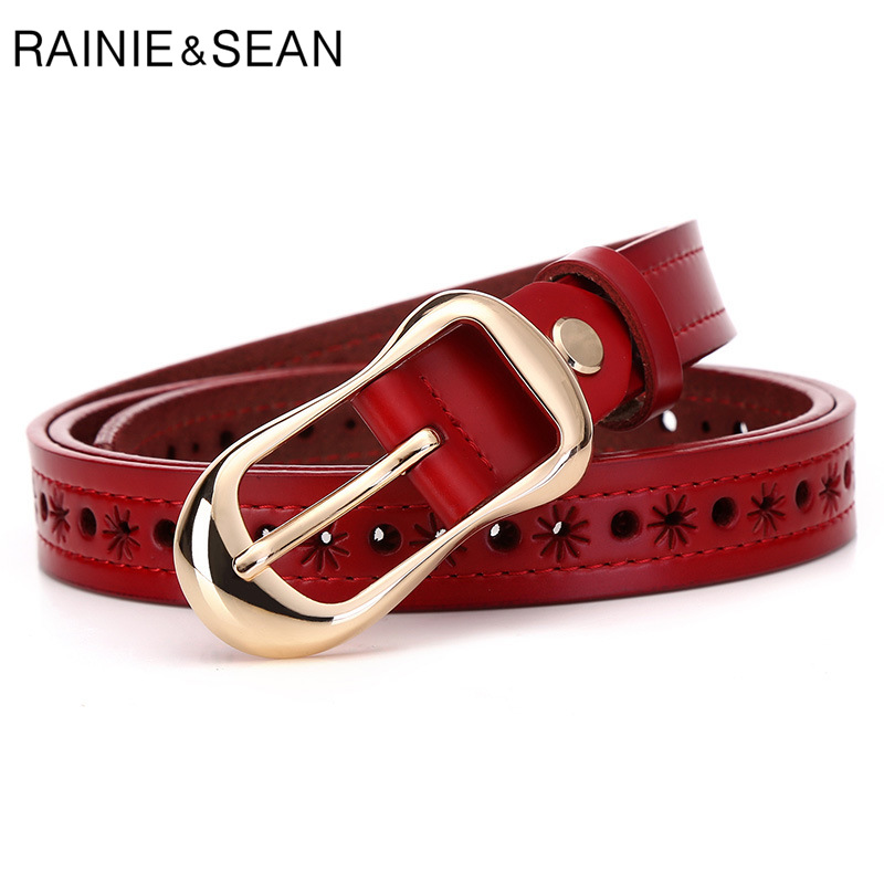 RAINIE SEAN Real Leather Belts For Ladies Red Black White Camel Coffee Woman Belt For Jeans High Quality Female Strap 110cm