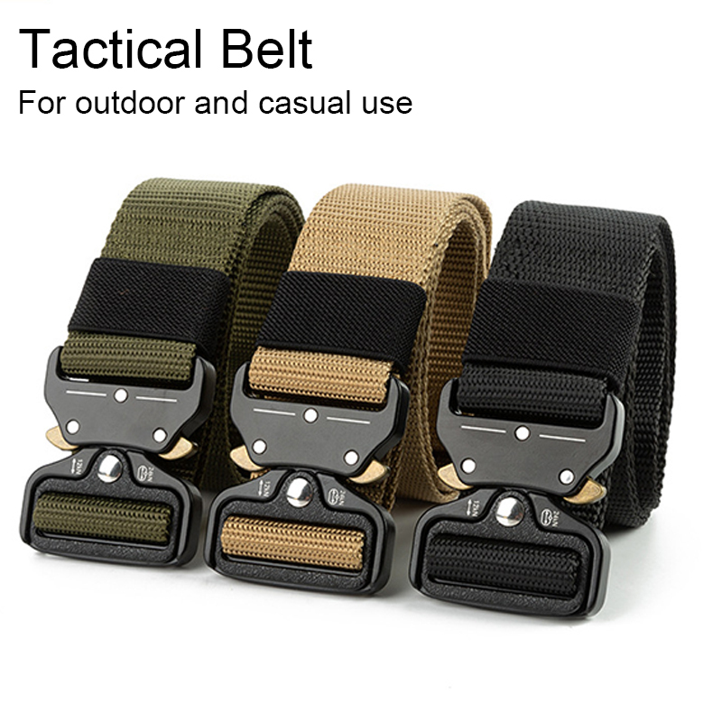 Nylon Police Army Tactical Belt Men Quick Release Training Outdoor Belt Heavy Duty Military Buckle Belt for Waist Hunting Hiking