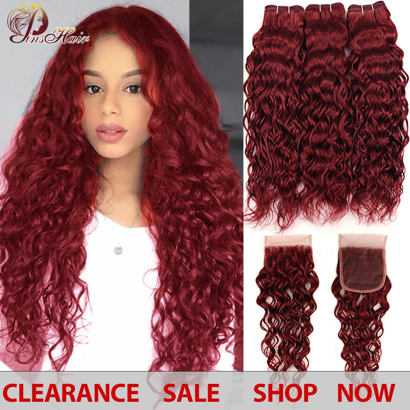 Pinshair Red Bundles With Closure Burgundy 99J Hair Peruvian Water Wave Colored Human Hair 3 Bundles With Closure Thick Non-remy