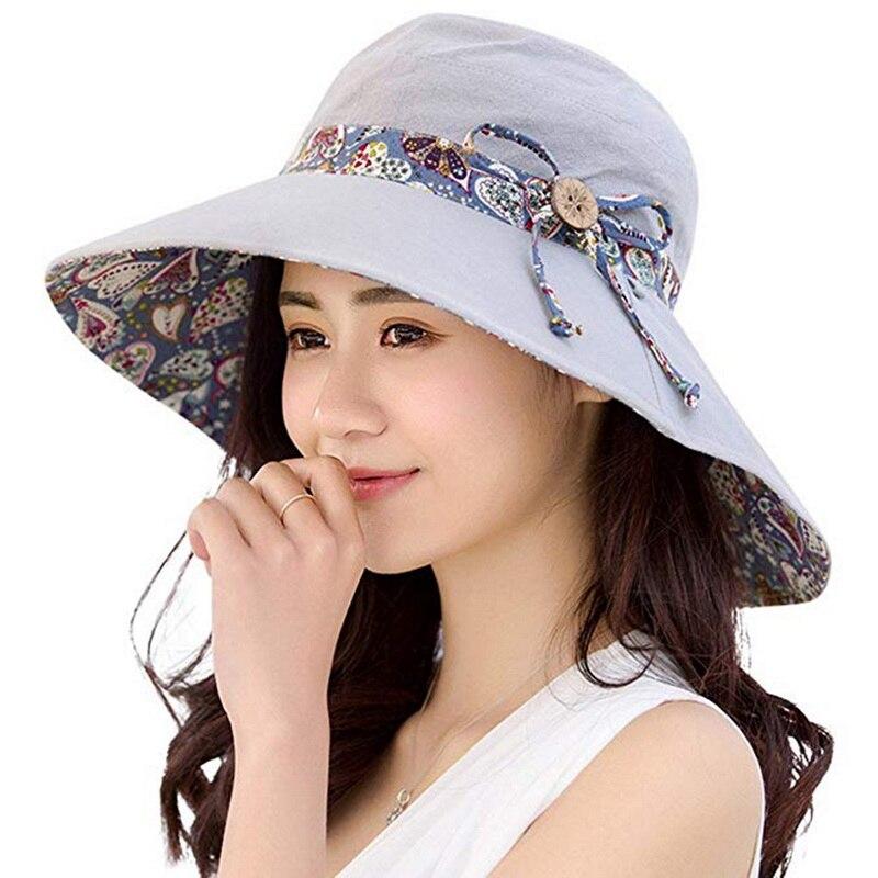 LOOZYKIT Women Summer Beach Travel Bowknot Large Wide Brim Sun Hat Fishing Fisher Reversible Foldable Cap Casual Lady Sun Cap