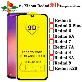 10pcs\Lot 9D Tempered Glass For Xiaomi Redmi 6 7 6A 7A 8A 9A Screen Protector on Redmi 5 Plus K20 Protective Full Cover Film