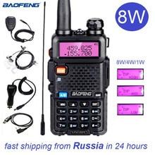 Baofeng UV 5R 8W 워키 토키 10 km UV 5R 양방향 햄 트랜시버 라디오 방송국 VHF UHF BF UV5R 사냥을위한 휴대용 라디오