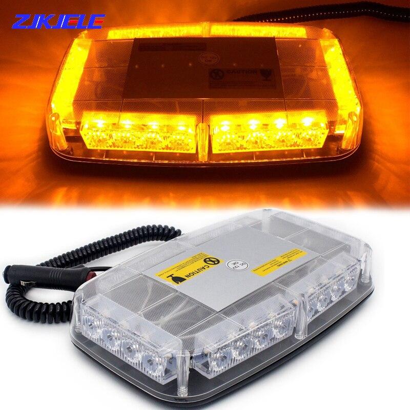 12V LED Short Long Row Roof Strobe Police Flashing Truck Warning Light Emergency Traffic Magnetic Ceiling Fog Alarm Lamp for Car