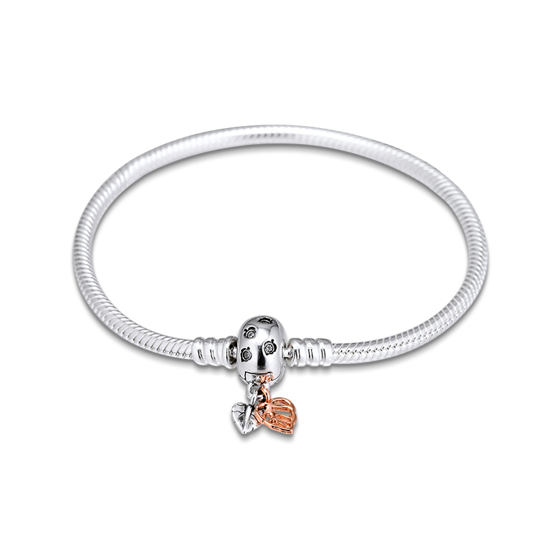 Moments Leaves & Snake Chain Bracelets for Women Clear CZ Rose Golden Clasp 925 Sterling Silver Charms Bracelets Jewelry DIY