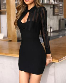2020 Women Elegant Fashion Sexy Black Cocktail Party Mini Dresses Patchwork Sheer Mesh & Stripes Keyhole Front Bodycon Dress