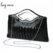 Bolso de mano de noche para mujer, pochette de diseñador de lujo, negro, dorado, plateado, para noche, con lentejuelas, para boda