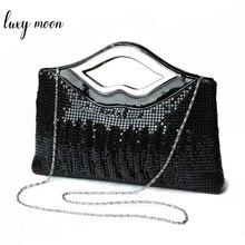 Frauen Abend Kupplung Handtasche und Handtasche Luxus Designer Schwarz Gold Silber Abend Tasche Pailletten Schulter Tasche Weibliche Hochzeit Kupplung