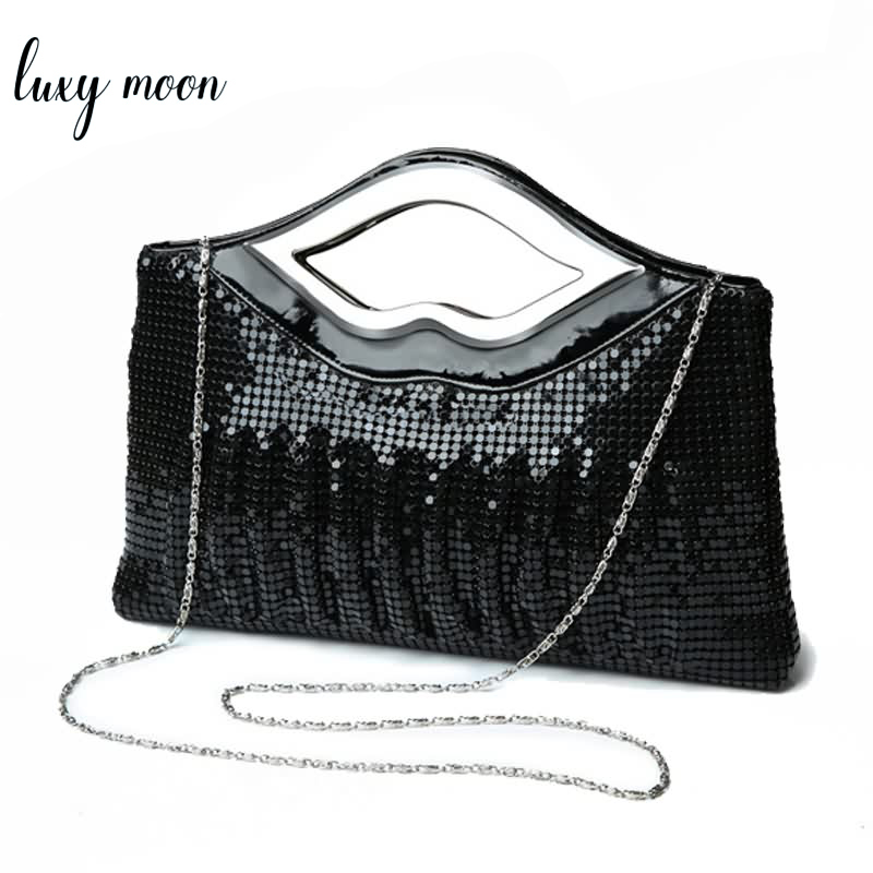 Women Evening Clutch Bags Luxury Handbag Black Evening Bag High Quality Sequin Shoulder Bag Fashion Designer Female Clutch Purse