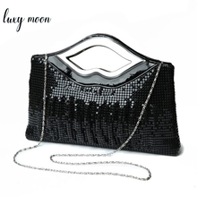 Womens Evening Clutch Purse and Handbag Luxury Designer Black Gold Silver Evening Bag Sequin Shoulder Bag Female Wedding Clutch