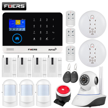 цена на FUERS WIFI GSM Wireless Home Business Burglar Security Alarm System APP Control Siren RFID Motion Detector PIR Smoke Sensor