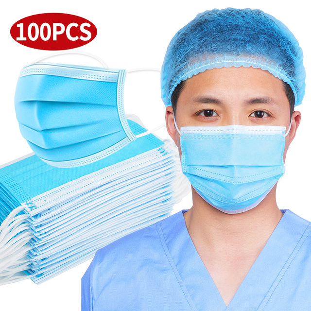 Fast delivery Hot Sale 3layer mask Face Mouth Mask Non Woven Disposable Anti-Dust Meltblown cloth Masks Earloops Masks