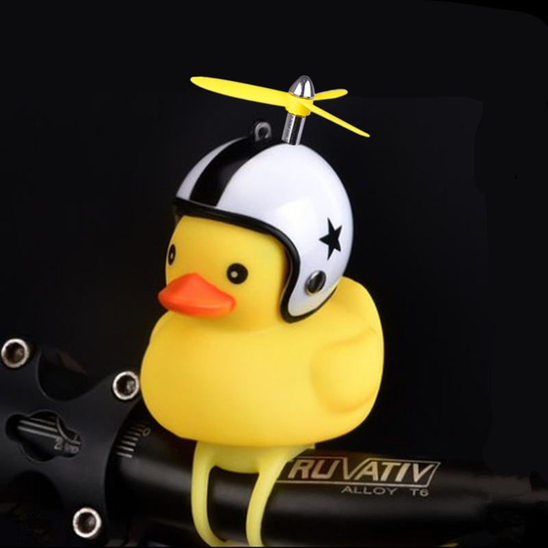 1PC Cartoon Silica Little Duck Shape Bicycle Bells Shining Mountain Bike Handlebar Duck Bell Yellow Rotary Paddle Helmet Light Z