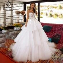 Peri aplikler 3D çiçekler düğün elbisesi sevgiliye kolsuz A Line dantelli tül Vestido de novia Swanskirt TZ50 gelin kıyafeti