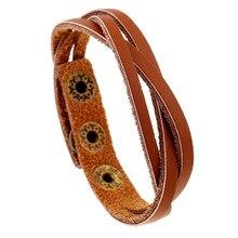 цена на Leather Bracelets For Men Women 2019 New Leather Wrap Braided Wristband Cuff Punk Men Women Bracelet Bangle Snap-on wristband
