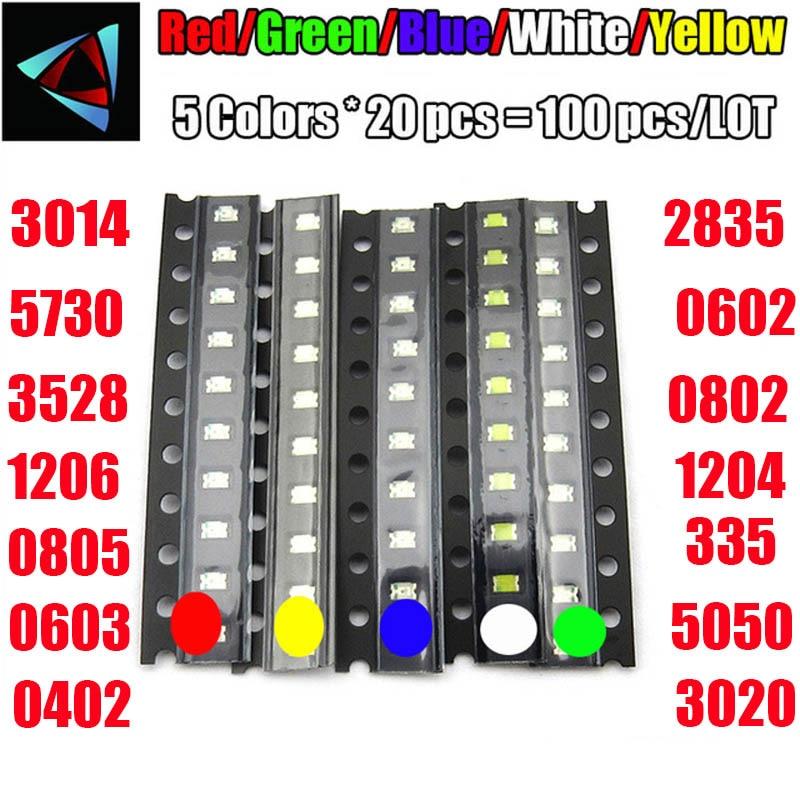 100pcs = cores x 20 5 pcs 0402 2835 1210 1206 0805 0603 3014 3020 Kit Variedade SMD Diodo LED Verde/VERMELHO/Branco/Azul/Amarelo