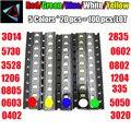 100 шт. = 5 цветов x 20 шт., ассортимент светодиодов SMD 0402 2835 1210 1206 0805 0603, комплект светодиодов зеленого/Красного/белого/синего/желтого цвета