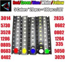 100pcs=5colors x 20pcs 0402 2835 1210 1206 0805 0603 3014 3020 Assortment SMD LED Diode Kit Green/ RED / White / Blue / Yellow