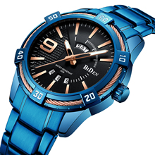 цена на BIDEN Male Watch Top Brand Luxury Quartz Mens Wristwatch Stainless Steel Calendar Week Creative Blue Dial Business Orologio Uomo