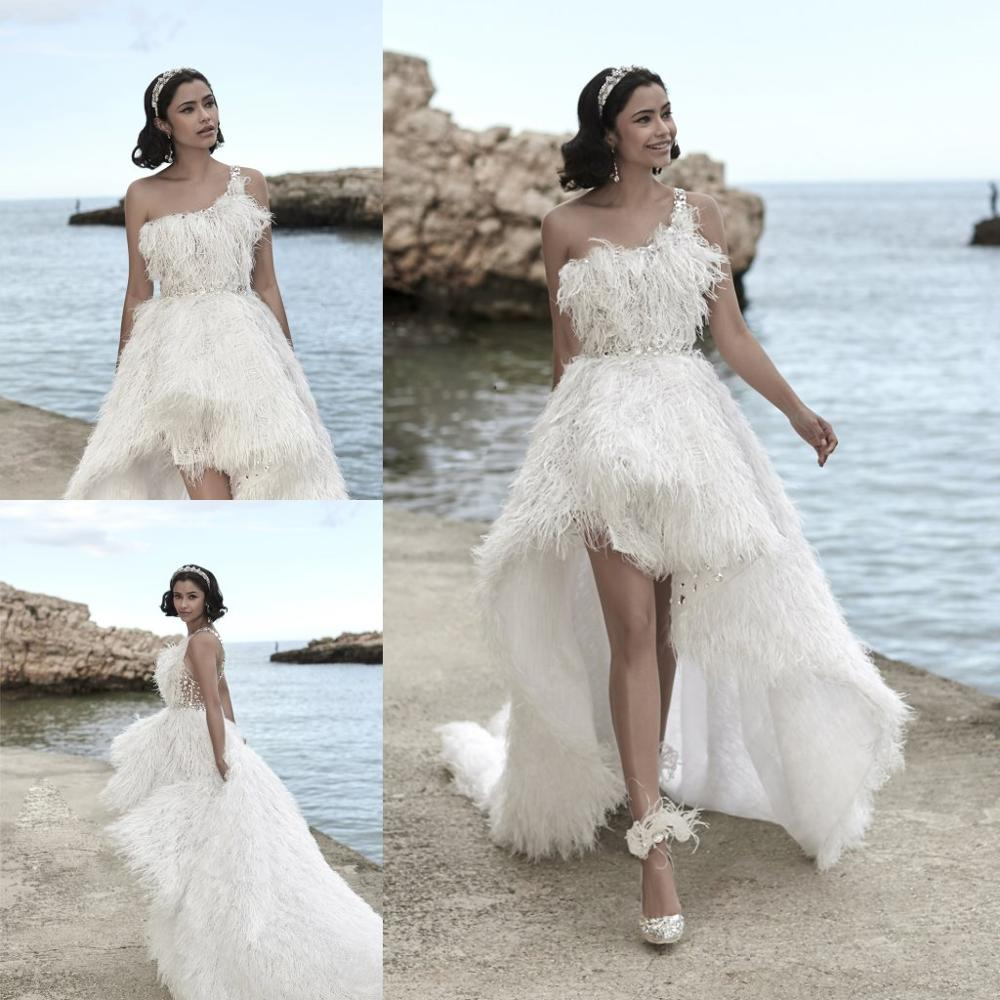 High Low Wedding Dresses Lace Feather Crystal One Shoulder Robe De Mariee Boho Beach Wedding Gowns Custom Made Vestidos De Novia