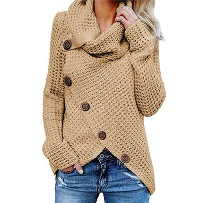 Long-sleeved Sweater Five-button High-necked Pullover Solid Color Women's Autumn And Winter Casual Loose Tops