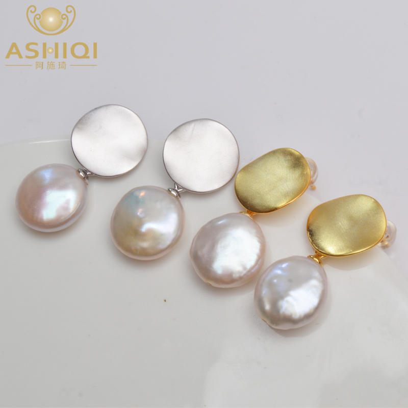 ASHIQI Real 925 Sterling Silver Korean Earring Big Natural Freshwater Baroque Pearl fashion jewelry for women серьги позолото