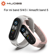 Mijobs For Xiaomi Miband Mi Band 5 Smart Strap Bracelet Nylon NFC Global Version Amazfit Band 5