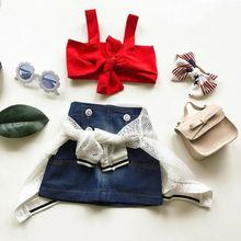 купить 2PCS Toddler Kids Baby Girls Outfit Clothes Vest T-shirt+Bowknot Short Set princess girl clothes set roupas de menino дешево
