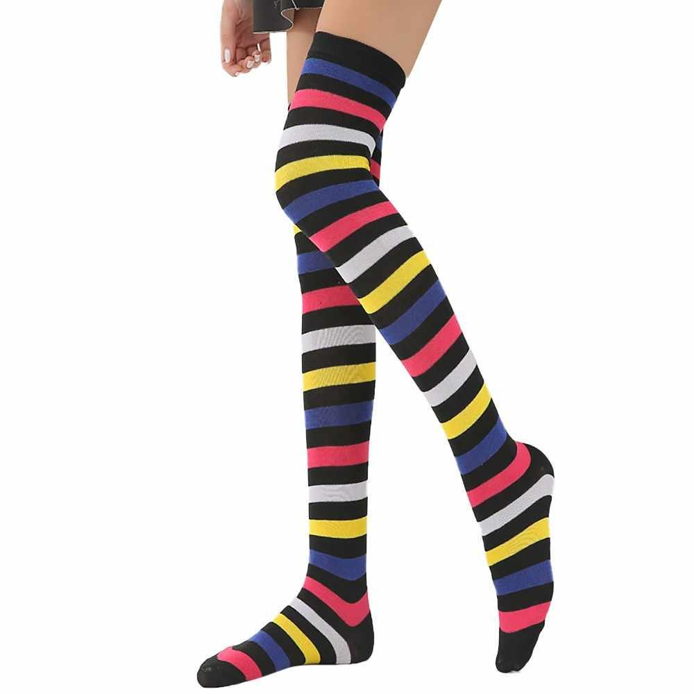 Kadın gökkuşağı kış sıcak kablo uzun çizme çorap kadın diz üzerinde uyluk yüksek orta buzağı orta buzağı çorap bayan Streetwear yenilik çorap