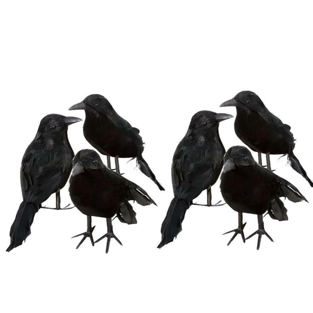 Black Lifesize Simulation Raven Movie Prop Fake Crow Halloween Fake Bird Hunting Decor Ghost Festival Supplies Wholesale image