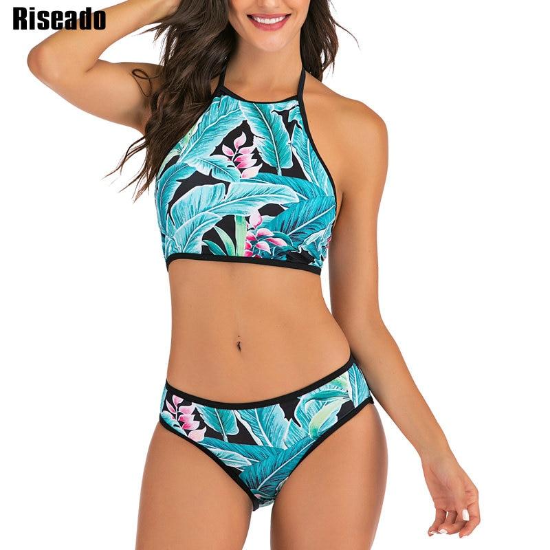 Riseado New Bikinis 2020 Tropical Biquini Sexy Halter Swimwear Women Bathing Suits Push Up Swimsuits Summer Beach Wear