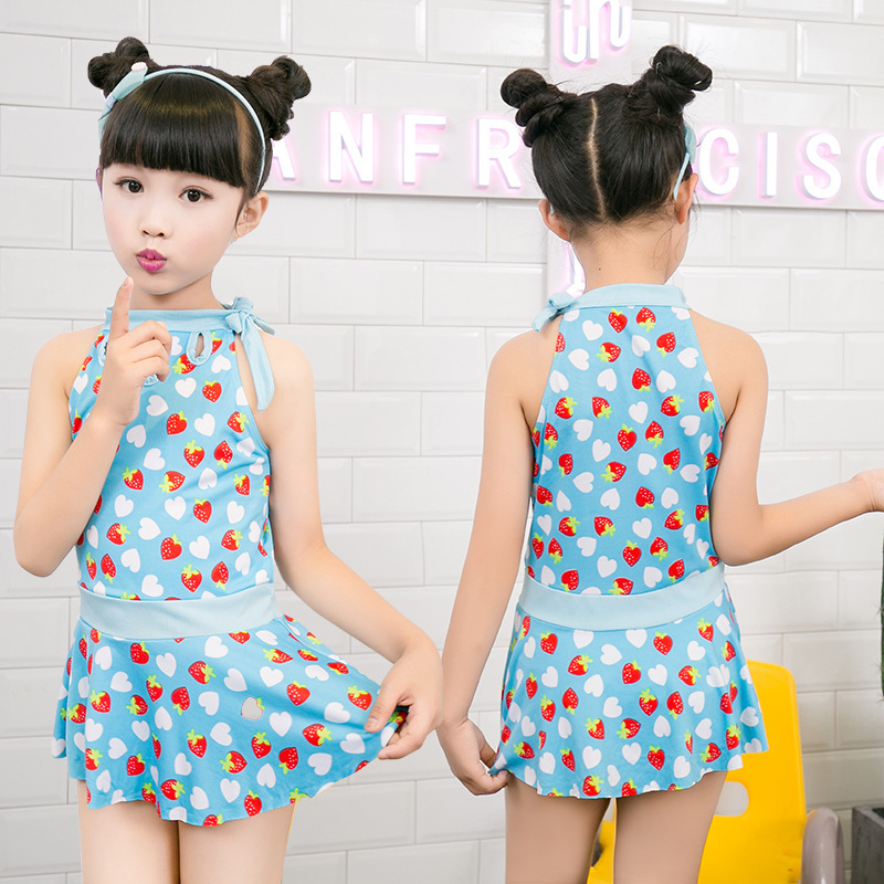 New Products Wholesale Girls Siamese Swimsuit Cute Baby Princess Dress-Boxer Fashion Printed Bubble Hot Spring Swimwear