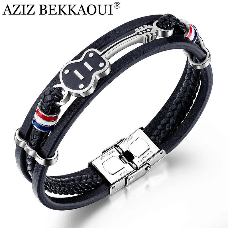 AZIZ BEKKAOUI Black Stainless Steel Guitar Bracelets Personalized Punk Leather Bracelet for Men Engrave Rope Bangle Dropshipping
