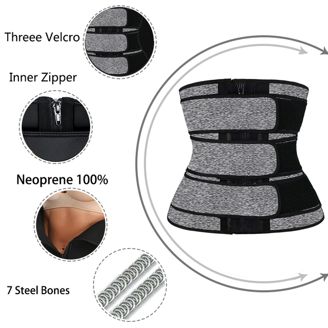 Waist Trainer Corset  Sauna Sweat Sport Girdle For Women Fajas Reductoras Neoprene Weight Loss Compression Trimmer 3 Belt Zipper 2