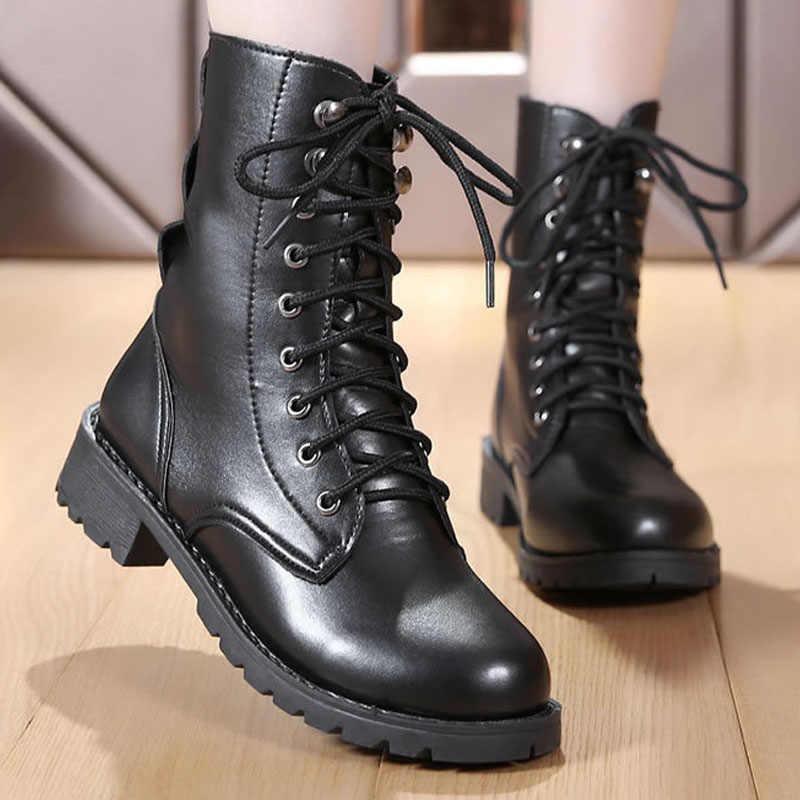 2019 yeni motosiklet çizmeler Lace Up kadın botları sıcak kadın ayakkabı orta buzağı çizmeler kadın kış ayakkabı Martin çizmeler artı boyutu 43