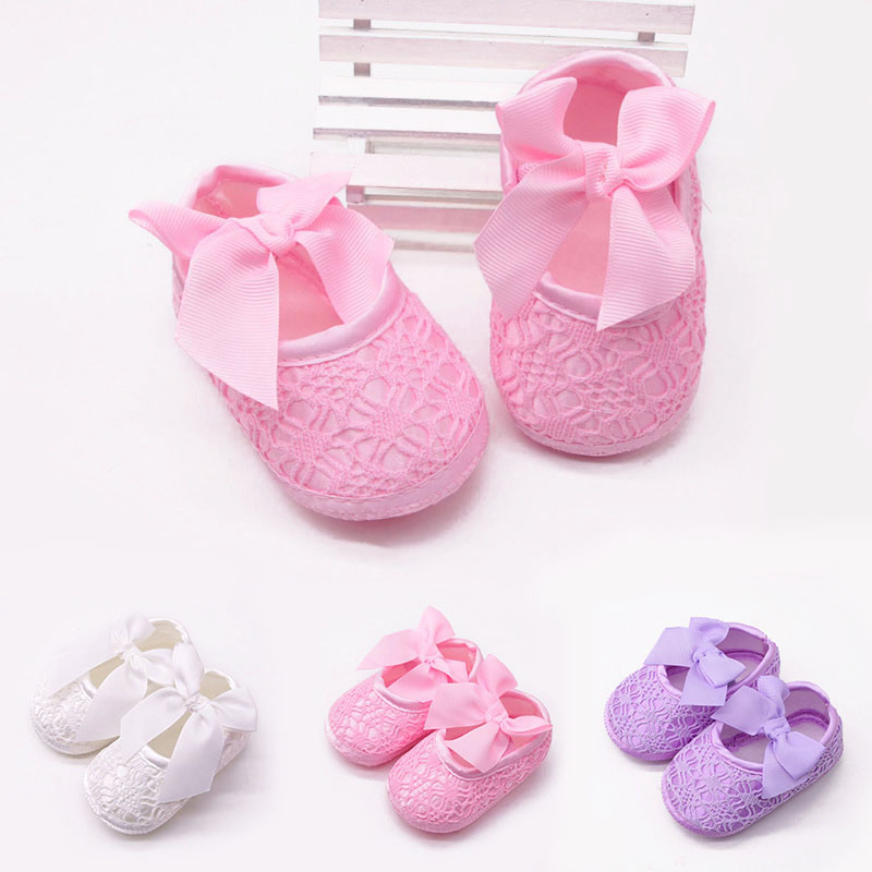 Cute Lace Flower Bows Baby Shoes  Soft Cotton Anti Slip Newborn First Walkers Girls Princess Baby Girl Shoes