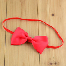 Cute Baby 1cm Red Elastic Headbands Infant Toddler Hair bands with Grosgrain Bow Hairbow Girls Christmas Hair Accessories 120pcs