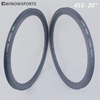 Winowsports high stifiness carbon road bike rim BMX 20 451 clincher rim 12K Matte 20inch BMX racing rim with basalt brake