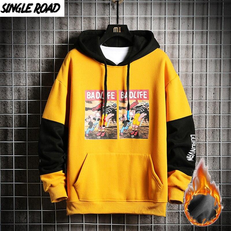 SingleRoad Men's Hoodies Men Winter Fleece Joker Printed Sweatshirt Male Hip Hop Japanese Streetwear Harajuku Yellow Hoodie Men