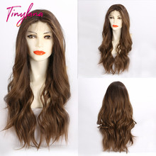 TINY LANA 100% Futura pelucas sintéticas con encaje frontal ondulado marrón, minimechones, pelo Natural de alta densidad