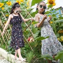 Girl Summer Dress Floral Slim Bohemia Chiffon Beach Teen 2020 Black White Flower Sundress