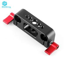 15mm Rod Rig Clamp Double Holes 1/4 3/8 Thread Telephoto Lens Holder Support Rail Photography System For DSLR Camera Cage