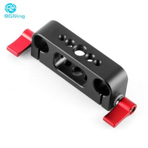 Image 1 - 15mm Rod Rig Clamp Double Holes 1/4 3/8 Thread Telephoto Lens Holder Support Rail Photography System For DSLR Camera Cage