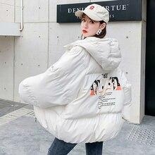 Chaqueta de Invierno para mujer, abrigo Parka con dibujos, Chaqueta corta cálida con capucha para mujer, chaqueta informal de talla grande, abrigo Harajuku MY302