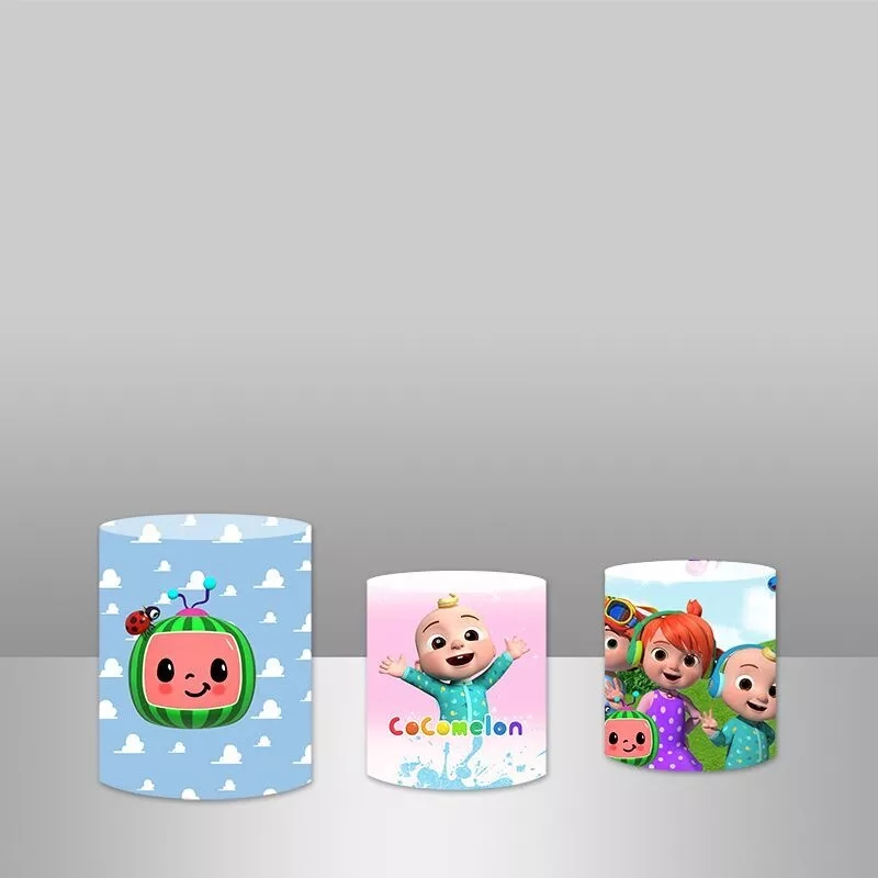 Cocomelon Theme Party Cylinder Plinth Cover Newborn Baby Shower Backdrop Kids 1st Birthday Party Photography Backgrunds