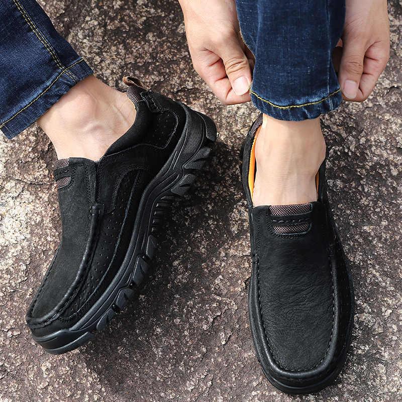 HUMTTO açık hakiki deri ayakkabı erkekler büyük boy dağcılık Sneakers kaymaz kauçuk Trekking avcılık ayakkabı yeni