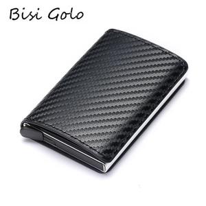 BISI GORO 2020 Fashion Credit Card Holder Carbon Fiber Card Holder Aluminum Slim Short Card Holder RFID Blocking Card Wallet(China)