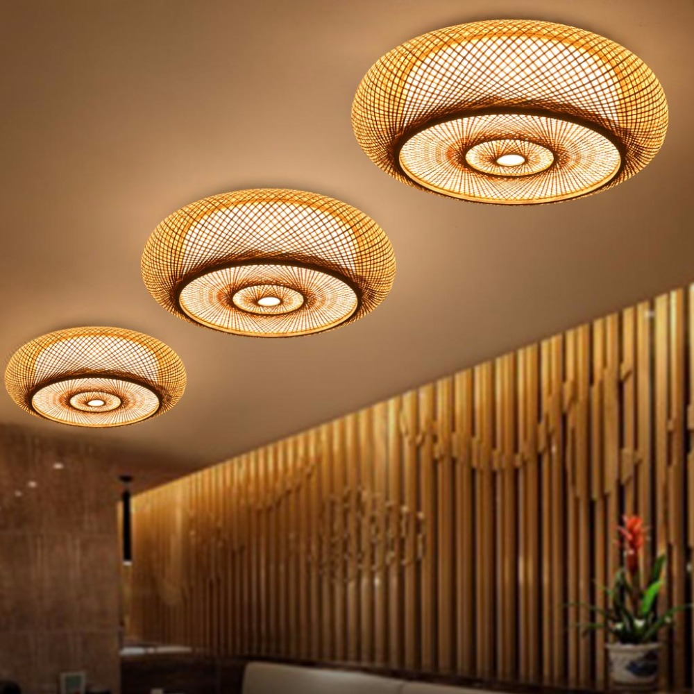 Hand-woven Bamboo Wicker Rattan Round Lantern Shade Ceiling Light Fixture Rustic Asian Japanese Plafon Lamp Bedroom Living Room