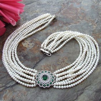 """22"""" 4-5MM 8 Strands White freshwater Pearl Necklace zircon Pendant"""